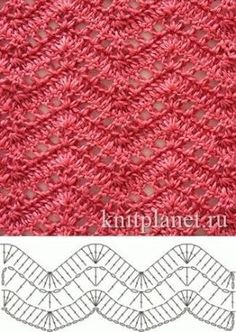 Open Lacy Ripple Stitch - Free Crochet Diagram - (knitplanet) by jacklyn