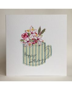 A beautiful birthday card perfect for any flower lover! Fabric Cards, Fabric Postcards, Embroidery Cards, Free Motion Embroidery, Card Making Inspiration, Making Ideas, Patchwork Cards, Beautiful Birthday Cards, Freehand Machine Embroidery