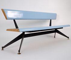 Edoardo Paoli Laminate & Metal Bench, 1950s