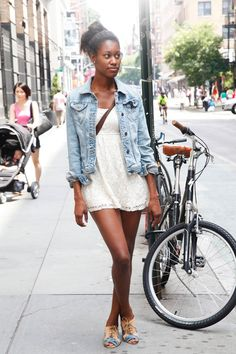 Jacket: Abercrombie & Fitch Dress: Forever 21 Bag: Vintage Shoes: Jeffrey Campbell - NYC Street Style Denim - Elle