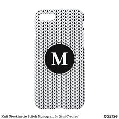 Knit Stockinette Stitch Monogram Crafts iPhone 8/7 Case available on Zazzle by Craft Love→→ #shopcraftlove #zazzlemade #zazzle #knitting #stockinettestitch #phonecases #knitstitch #iphonecase #monogram