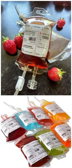 """Mix up your favorite punch recipe and serve them up in some of THESE Reusable Blood Bag Drink """"IV Bags"""" Containers! - Awesome Halloween Party Treats Ideas"""