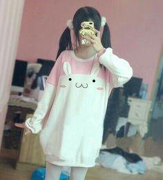 Pink/black kawaii rabbit fleece pullover from Fashion Kawaii [Japan & Korea] Harajuku Fashion, Kawaii Fashion, Lolita Fashion, Cute Fashion, Asian Fashion, Look Fashion, Fashion Styles, Mode Outfits, Fashion Outfits