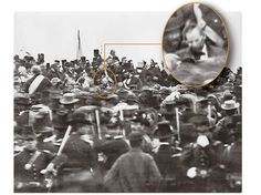The only known photograph of Abraham Lincoln at Gettysburg, before giving his famous address. [November 19, 1863