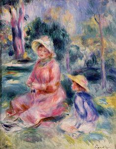 Painting by Pierre-Auguste Renoir Madame Renoir and Her Son Pierre, 1890