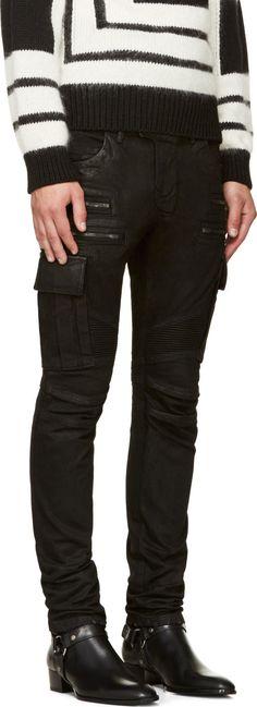 Balmain Black Coated Cargo Biker Jeans