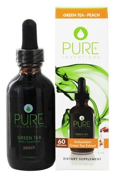 Pure Inventions - Green Tea Liquid Dropper Peach - 2 oz. Green Tea Uses, Pure Green Tea, Health And Nutrition, Health And Wellness, Health Programs, Green Tea Extract, How To Increase Energy, Natural Health, Inventions