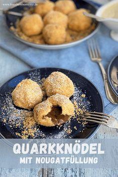 Quarkknödel (oder auch Topfenknödel) sind eine klassische Süßspeise aus Österreich. Hier in der Version mit einer Nougatfüllung. Soulfood pur! #süßeknödel #nougat #quarkknödel #topfenknödel #rezept #dessert #süßspeise Sweet Bakery, Dumpling Recipe, Chef Recipes, International Recipes, Creative Food, Muffin, Low Carb, Cooking, Breakfast