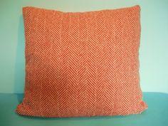 Kissen - Kissenbezug 50x50 Fischgrät Wolle orange-beige - ein Designerstück von Pillows bei DaWanda
