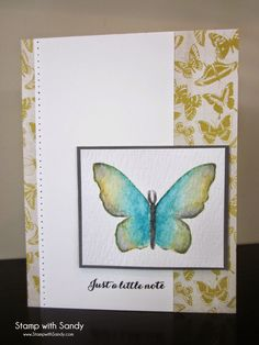 Stampin' Up! ... handmade card from Stamp with Sandy ... lineless water coloring ... butterfly ...