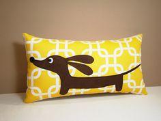 Doxie in the Autumn Sunshine Garden Decorative Rectangular Dachshund Pillow Featuring Designer Fabric