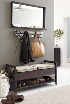 Make your entryway, mudroom or foyer feel as fashionable as you do. Crate and Barrel has beautifully durable entryway benches you'll enjoy using every day. Find the perfect one for you. Entryway Storage, Entryway Decor, Entryway Mirror, Shoe Storage, Entryway Bench, Mirror Hooks, Shoe Cubby, Entryway Furniture, Wood Mirror