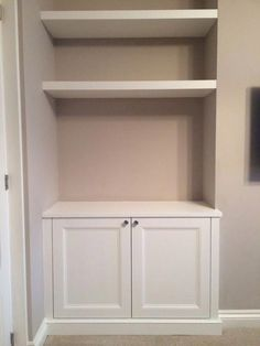 Alcove cupboard with floating shelves - for our nook? cupboard up to half wall then floating shelves? Alcove Cupboards, Cupboard Shelves, Built In Tv Cabinet, Kitchen Shelves, Desk Cabinet, Bar Shelves, Corner Shelves, Kitchen Shelf Design, Home Decor Kitchen