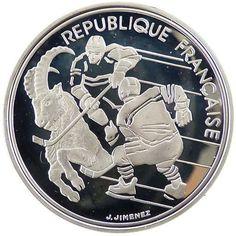 Moneda de plata 100 francos Francia 1991 Albertville 92 Hockey