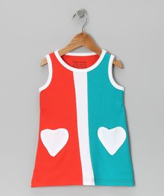Orange & Turquoise Heart Patch Dress - Infant & Toddler | Daily deals for moms, babies and kids