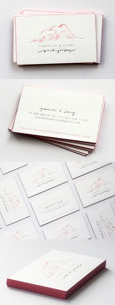 Beautifully Illustrated Hand Drawn Logo On A Letterpress Business Card For A Photographer