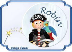 Button Pirat mit Papagei, Wunschtext von Jasuki auf DaWanda.com