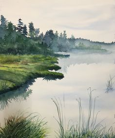 New York artist Bill Greiner's monochromatic watercolor of a foggy morning along the river.