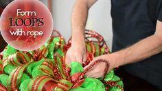 DIY: Deco Mesh Christmas Ball Wreath. #wreaths #Christmas #deco_mesh #video #tutorial