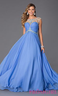 Floor Length Sleeveless Dress with Illusion Bodice by Rachel Allan at PromGirl.com #promgirl #dress #prom #preview