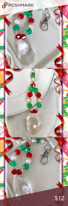 🌴🎁🌴 HANDMADE HANDBAG ACCESSORY 🎄🎁🎄 🎄🎁🎄 Handcrafted design:  This handbag accessory should brighten up your holidays, every time you use your handbag.  I used the traditional beaded  Xmas colors of red, green, pearl & silver.  The focal point is a large crystal which captures the light beautifully.  This would also look so cool on the mirror in your car.  I did that with mine and it sparkles so much I was told it glistens so much the car behind can see the beauty & many colors coming…