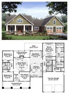 Bungalow Style COOL House Plan ID: chp-37255   Total Living Area: 2067 sq. ft., 3 bedrooms & 2.5 bathrooms. The great room includes gas logs, a trayed ceiling and beautiful views to the covered rear porch beyond. The master bedroom also features trayed ceilings, and the master bathroom leaves nothing to be desired. #houseplans #bungalowstyle