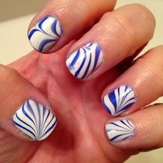 Blue and White Marble #nailart - Go to bellashoot.com or #beautyapp for beauty inspiration!