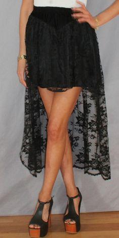 Black Lace TUXEDO high-low dipped hem Mini Maxi Fishtail SKIRT S/M. $39.36, via Etsy.