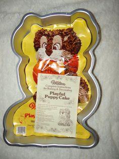 Wilton Cake Pan Treat Playful Puppy Dog Mold Birthday Vintage #WiltonCakePan
