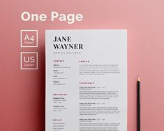 Resume Template 3 Page CV Template Cover Letter / Instant | Etsy Simple Cv Template, One Page Resume Template, Resume Templates, Cv Cover Letter, Cover Letter Template, Letter Templates, Create A Resume, Resume Help, Job Resume
