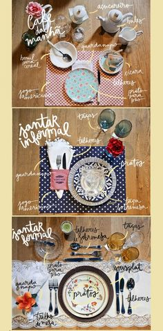 Veja como montar uma decoração de mesa de jantar para os seus convidados, dicas de decoração simples e ideias para montar uma mesa chique e mais formal. Home Crafts, Diy Home Decor, Oh My Home, Table Labels, Dining Etiquette, Table Manners, Dinning Table, Cafe Interior, E Design