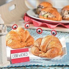 Ahoy! It's a boy crab sandwich recipe. Ideal for an under the sea themed or nautical themed baby shower. Baby shower ideas and inspiration. Love the googly eyes!