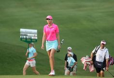 Paula Creamer makes her way to the eighth green during the final round of the LPGA Tour's Kingsmill Championship golf tournament on Sunday, May 17, 2015, in Williamsburg, Va. (AP Photo/Jason Hirschfeld)