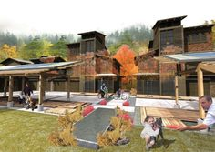 My rendering from the second place entry in the Portland Courtyard Housing competition