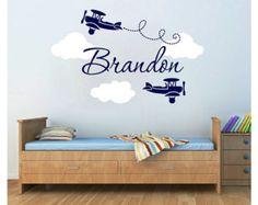 Airplane Wall Decals Nursery Clouds por Studio378Decals en Etsy