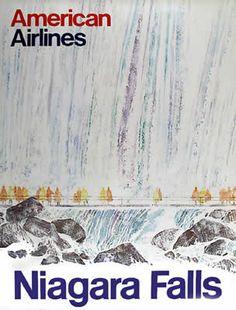 American Airlines Travel Poster  : Niagara Falls  US & Canada Circa 1970 art