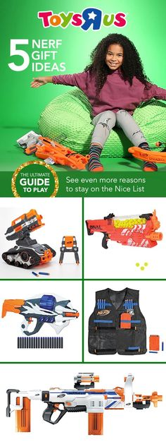 You'll probably be named best gift giver ever when you give these out. And if five NERF gift ideas just aren't enough, there are LOTS more in store & online. 1) NERF N-Strike Elite TerraScout Remote Control Drone Blaster 2) NERF Rival Nemesis MXVII-10K 3) NERF Alien Menace Incisor Blaster 4) NERF N-Strike Elite Tactical Vest 5) NERF Modulus Regulator Blaster #todayweplay