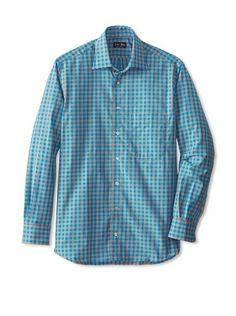 84% OFF Gitman Blue Men's Plaid Long Sleeve Shirt (Teal)