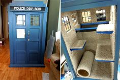 If you're both a Whovian and a cat lover, here is a project that both you and your feline friend can enjoy: A TARDIS cat fort! It might not be bigger on the