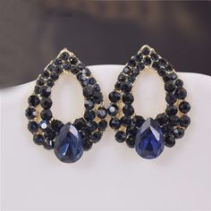 Sapphire Stud Earrings / Luxury jewelry. Name: Sapphire Stud Earrings. Match with suitable apparel for different occasions. Color: Royal blue. Special design and unique structure, a popular item.   eBay!