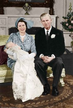 The Queen and Prince Philip with baby Anne in Princess Elizabeth and Philip first me.