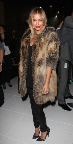 Working the fur jacket teamed with reow red lippie