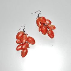 Orange Pistachio Shell Earrings....I would paint them a different color but its a really cute idea