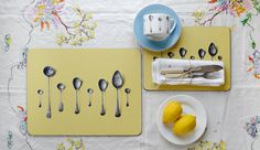 Yellow Spoons Drawings by Michael Angove   http://www.avenidahome.com/product/spoons-placemat-table-mat/
