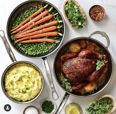 Roasted chicken over carrots, onions & lemons, served with glazed carrots & peas and mashed potatoes. Glazed Carrots, Roasted Chicken, Easy Chicken Recipes, Poultry, Mashed Potatoes, Grilling, Pork, Veggies, Meat