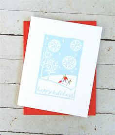 Sledding Christmas Card  Hand Printed by noraalice on Etsy, $5.00