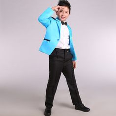 Korean children boys suits flower girl dresses tuxedo suits silver side white piano playing moderator clothing