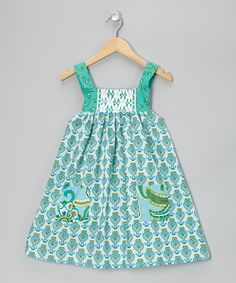 Turquoise Curly Heart Pinafore Dress - Infant, Toddler & Girls