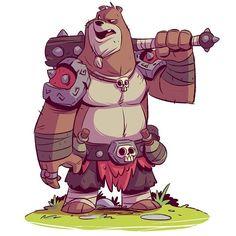 RuinWorld character design: Brewsiv is a former Bearzerker. Now one of Fargus' main henchmen. #ruinworld #characterdesign #bear #mangastudio #cintiq #dereklaufman