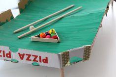 Spiele basteln aus Pizzakartons: Billard